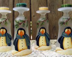 hand painted wine glasses candle holder christmas - Google Search