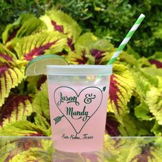Personalized Printed Stadium Cups.  Choose from over a dozen cup colors and 4 dozen ink colors!  Great for weddings and parties!