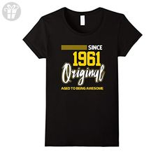 Womens 56th Birthday Since 1961 Aged To Being Awesome Shirt Small Black - Birthday shirts (*Amazon Partner-Link)