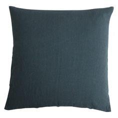 Stone washed linen cushion - Pine Green
