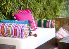 Mexican cushions - Andino cushions. Lovely for a thematic party or colorful wedding Life is nicer in color!!