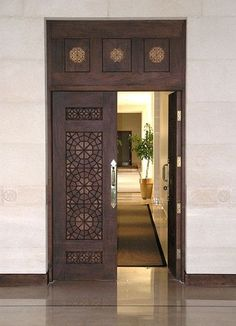 Discover recipes, home ideas, style inspiration and other ideas to try. Modern Entrance Door, Main Entrance Door Design, Wooden Main Door Design, Double Door Design, Door Gate Design, Modern Front Door, Entrance Doors, Office Entrance, Front Entry
