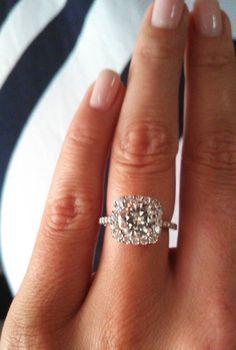 Real Ritani Engagement Rings - Congratulations to Charity, who wears a Ritani french-set cushion halo diamond band ring. | #RitaniPinterest
