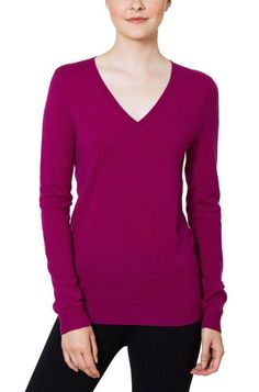 Magaschoni Ladies' Cashmere V-Neck Sweater - Purple