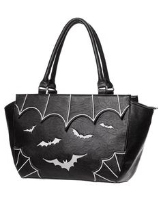 Banned Vampire Bat Handbag Black White Faux Leather Goth Rockabilly Pinup Bag #Banned #EveningBags