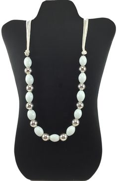 Silver and White Bead Necklace