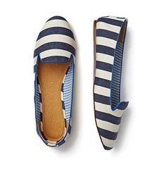 nautical slipper. I love this style... And I never pin clothes Nautical Slippers, Striped Slippers, Striped Flats, White Flats, Smoking Slippers, Cute Shoes, Me Too Shoes, Shoe Closet, Joe Fresh