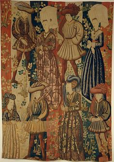 Courtiers in a Rose Garden: Four Gentlemen and Four Ladies Date:ca. Culture:South Netherlandish Medium:Wool warp, wool, silk, and metallic weft yarns Dimensions:Overall: 149 x x Medieval Life, Medieval Fashion, Medieval Art, Medieval Clothing, Historical Clothing, Renaissance, Medieval Paintings, Medieval Tapestry, Wars Of The Roses