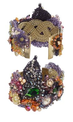 Jewelry Design - Cuff Bracelet with Swarovski Crystal and Knitted Zebra Wire™ - Fire Mountain Gems and Beads