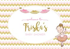 Table Mat Pink-Gold-White Theme for Baby Shower  #baby #shower #balerina #pink #gold #white #table #mat #tablemat