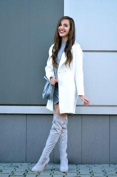 STYLEWE WHITE COAT | GAMISS GREY DRESS AND BAG