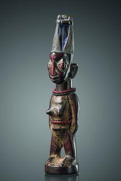"""Female twin figure """"ere ibeji"""" Nigeria, Yoruba, Ila Orangun, Area of Igbomina"""