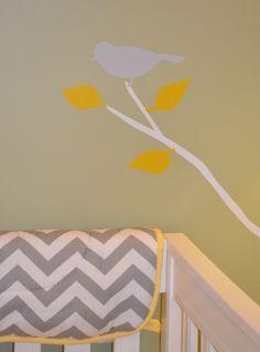 GenderNeutral Nursery Green Walls White Birch Trees With - Nursery wall decals gender neutral