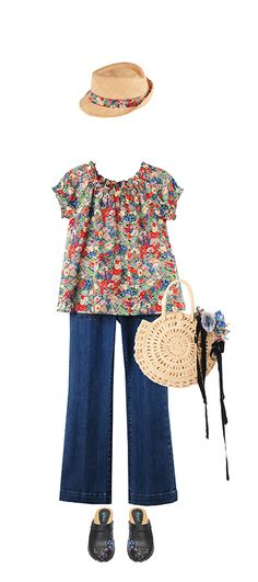 Bonpoint Summer 2015: Anais blouse Poppy Liberty Seafarer for Bonpoint Dark Denim Hat Poppy Liberty Sans-Arcidet for Bonpoint Natural Clogs Navy