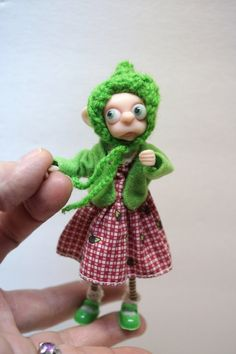 ooak poseable little BUG eyed FAIRY elf ( 72 ) pixie polymer clay art doll by DinkyDarlings by DinkyDarlings on Etsy