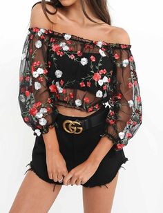 See through with floral detail-- just the right vibe with this off the shoulder look.