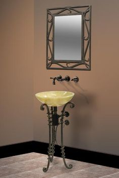 antique vanity mirrors on stand   Dreamline Bathroom Vanity - Wrought Iron Vessel Sink Stand 14 1/2 x 17 ...