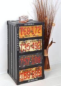 Kommode-Schrank-Container-Industrie-Design-Shabby-Metall-Optik-Vintage-Schwarz