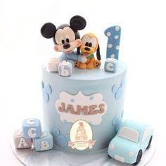 Happy Birthday Cake Hd, Mickey Mouse Birthday Theme, Baby First Birthday Cake, Cake Table Birthday, Theme Mickey, Birthday Cake Decorating, Baby Mickey Mouse Cake, Mickey Cakes, Baby Shower Cakes