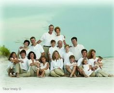 Large Group pose (just not on a beach of course) *khaki and white looks good on the beach, not so sure about how it would work in the woods*