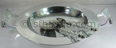 Crystal Handle Aluminium Bowl & Salad Servers