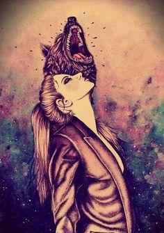 tumblr_static Mujer Y Lobo Dibujo artístico...
