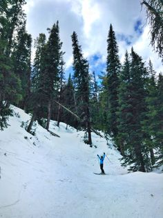 my friend @stockshowkid skiing the beautiful (double black) Headwaters at Red Lodge Mountain!