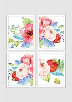 Watercolor Floral Prints Floral Nursery Print by MintArtStudio