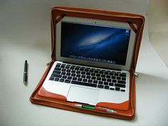 Brown Leather Apple Mac Book Zipper Business by leathercase