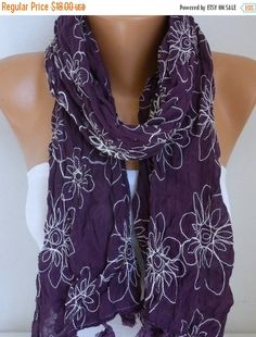 Dark Purple Floral Scarf Teacher Gift Shawl Cotton by fatwoman