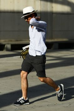 relaxing + new balance sneakers - source: tommyton streetstyle hat fashion men
