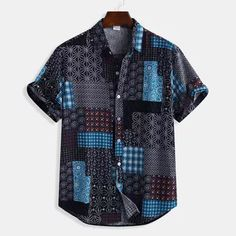 Mens Patchwork Printing Cotton Breathable Ethnic Style Summer Casual Shirts - Best Fashions for All Ethnic Fashion, Men's Fashion, Fashion Outfits, Fashion Shirts, Latest Fashion, Fashion Trends, Loose Shirts, Henley Shirts, Casual Shirts