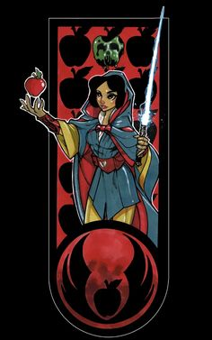 """Snow White - """"Artist Tom Hodges has a real knack for Star Wars and Disney mashups, as this Jedi Disney Princesses series demonstrates. Walt Disney, Disney Pixar, Star Wars Disney, Deco Disney, Disney Fan Art, Disney Girls, Disney And Dreamworks, Disney Love, Disney Characters"""