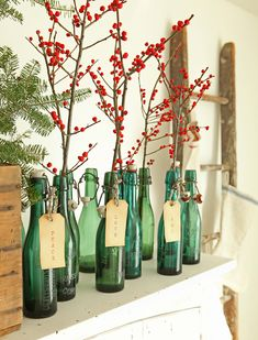 Beautiful, not only on Christmas: Vintage German beer bottles and berry stems. Repinned by www.gorara.com