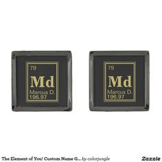 The Element of You! Custom Name Gold Periodic Cufflinks