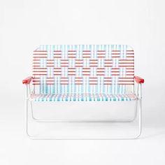 Rare Vintage Webbed Aluminum Folding Lawn Chair Love Seat