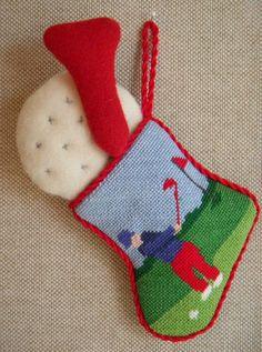 Golf Mini-stocking ~ canvas by Kathy Schenkel