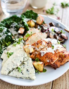 Charred Kale Caesar Salad with Honey Chipotle Chicken - A healthy twist on a traditional caesar salad, using kale instead of romaine.