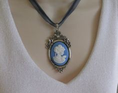 Blue Cameo Necklace, Cameo Jewelry, Victorian Cameo, Blue Necklace, Cameo Choker, Lady Cameo, Cameo, Cameo Necklace, Costume Jewelry