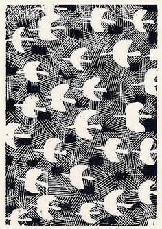 Cool black and white graphic bird pattern Doodle Patterns, Textile Patterns, Textile Prints, Print Patterns, Textiles, Monochrome Pattern, Africa Art, Bird Illustration, Japanese Artists