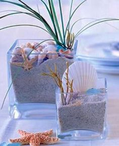 dune grass and shell table decor