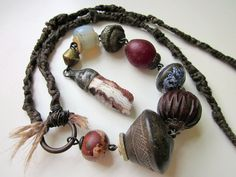 Betchya Never Lose My Love - primitive long assemblage cranberry red drusy, African trade bead, blue willow tin, wood, hemp macrame necklace