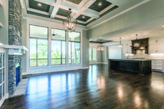 Interior Design Coffered Ceiling Lighting New Home Ideas Hardwood Floors Painted Cabinets Reverse Floorplan Ideas Home Decor Home Design Home Design, Decor Interior Design, Room Interior, Design Ideas, Kitchen Interior, Furniture Design, Interior Decorating, Living Room Kitchen, Home Living Room