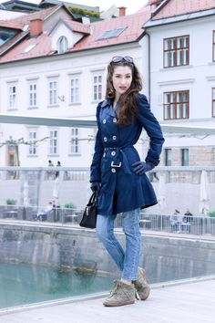 Fashion blogger Veronika Lipar of Brunette From Wall Street sharing her blue Friday look