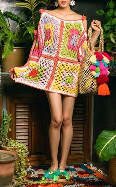This **Celia B** Primrose Crochet Mini Dress features a wide revealing neckline, relaxed silhouette in a cotton crochet. Vintage Crochet Dresses, Crochet Lingerie, B Fashion, Crochet Art, Crochet Fashion, Crochet Designs, Crochet Clothes, Clothing Patterns, Knitwear