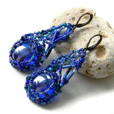 Dark blue freeform beaded earrings  freeform by Anabel27shop