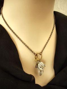 Steampunk necklace quartz crystal steampunk jewelry by Federikas, $85.00