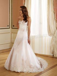 Tiara Satin Directionally Pleated Sweetheart A-line Wedding Dress