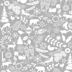 "Henry Glass ""Holiday Magic"" by Jan Shade Beach - Gray Allover | Fabric-Corner LLC of Utah, fabric corner, fabric-corner, utah"