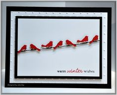 """MS Birds on a Wire punch, red and black, with glitter glue """"snow"""""""